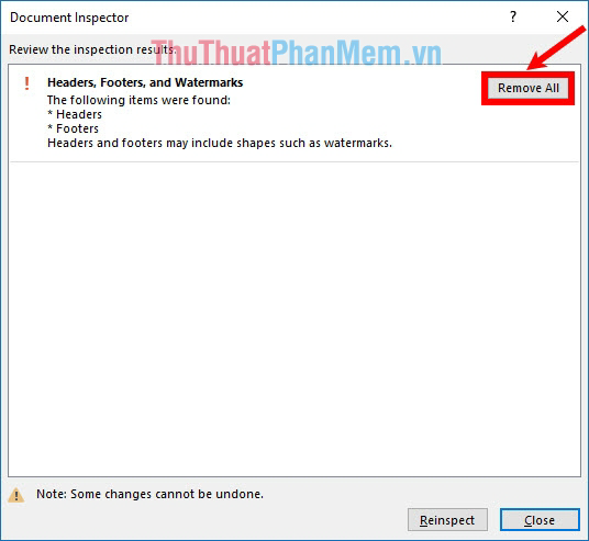 Nhấn chọn Remove All trong phần Headers, Footers, and Watermarks