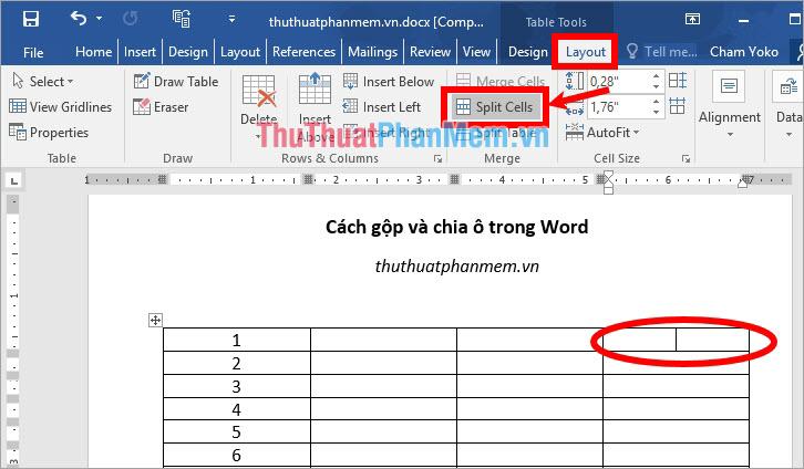 Chọn thẻ Layout trong phần Table Tools và chọn Split Cells