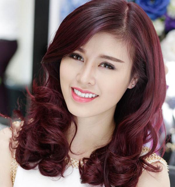 Màu tóc đỏ tía ánh tím đẹp