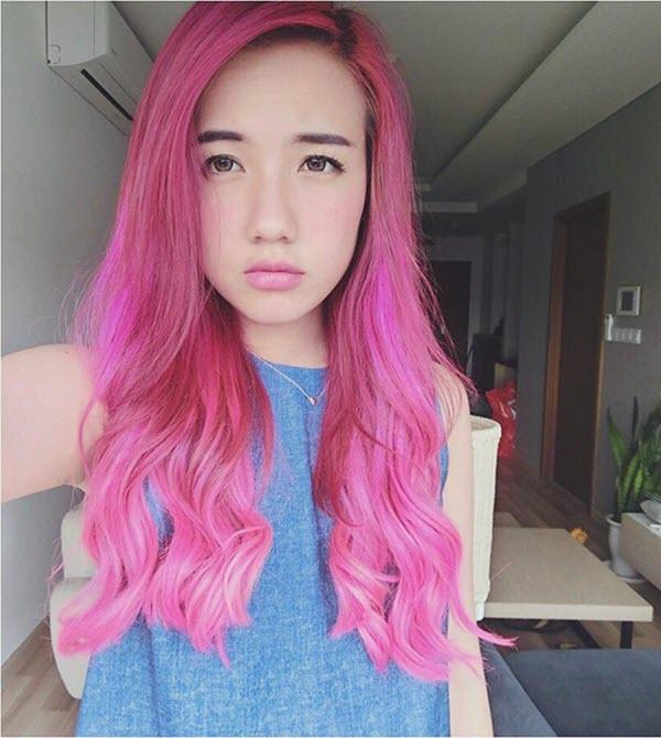 Màu tóc hồng nổi bật