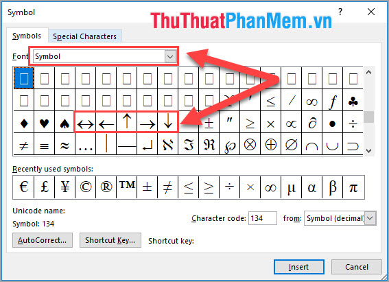 Mục Font các bạn lựa chọn Symbol