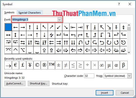 Ngoài ra có thể lựa chọn Font Wingdings 3