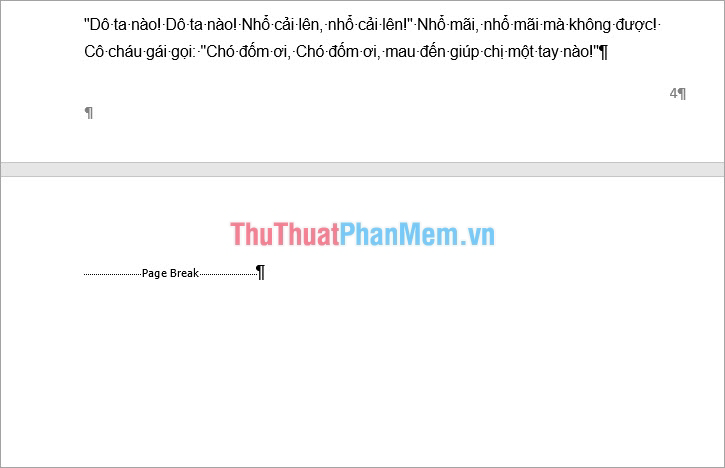 Xuất hiện Page Break (hay Section Break)