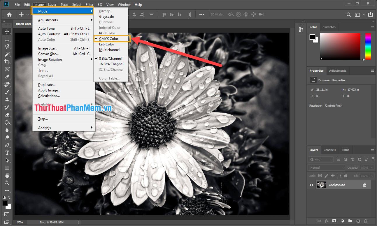Chọn Image - Mode - CMYK Color