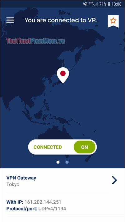 Connected ON nghĩa là kết nối thành công sang IP Nhật