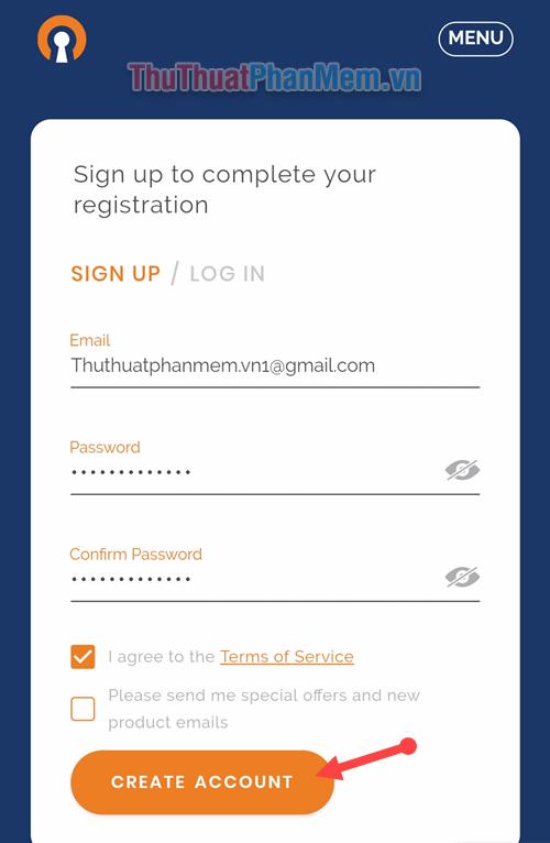 Điền Email cùng với Password đăng nhập