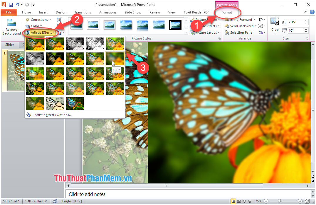 Sử dụng tùy chọn Blur trong menu Format - Artistic Effects - Blur effect
