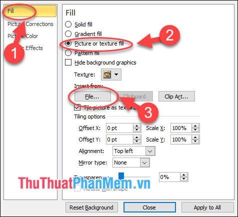 Tích chọn Picture or texture fill, tại File - chọn một ảnh để chèn vào slide