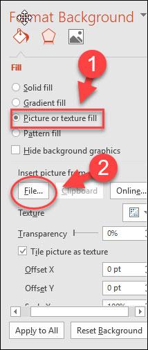 Tích chọn Picture or texture fill, trong File - chọn một ảnh để chèn vào slide