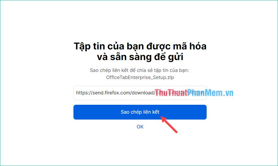 Copy đường link và gửi cho người cần tải file