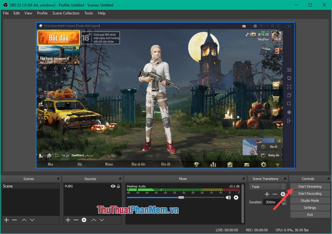 Nhấn Start Streaming để bắt đầu Live Stream game