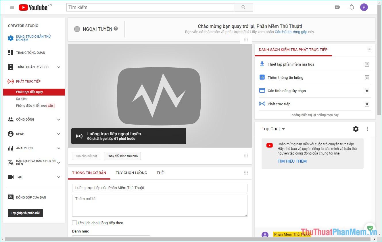 Vào giao diện Studio của Youtube