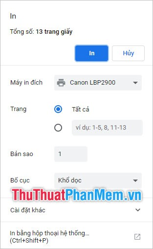 Chọn In