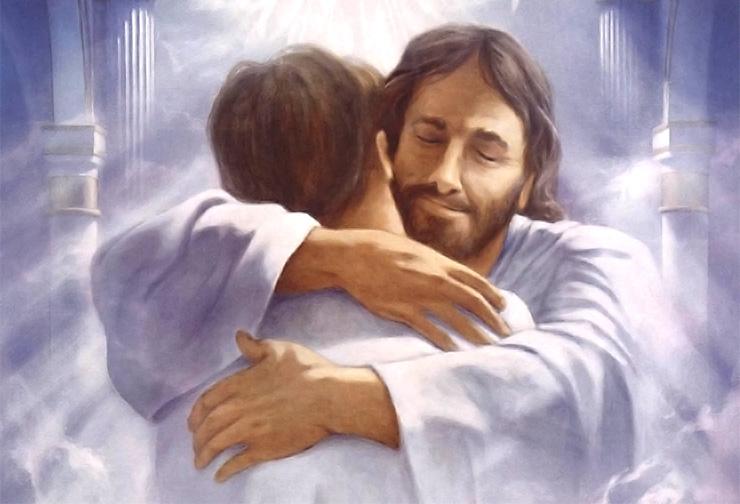 Chúa Giêsu chào đón tông đồ của mình với cái ôm trên Thiên Đàng