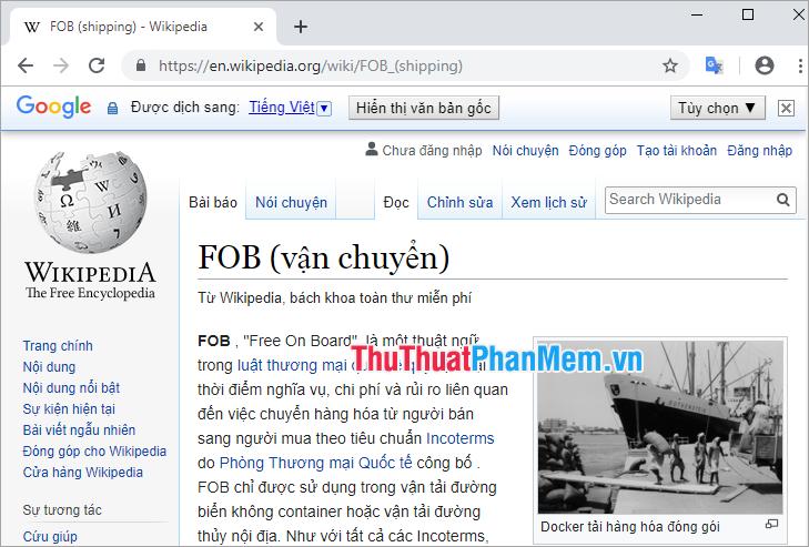 Trang web đã được dịch