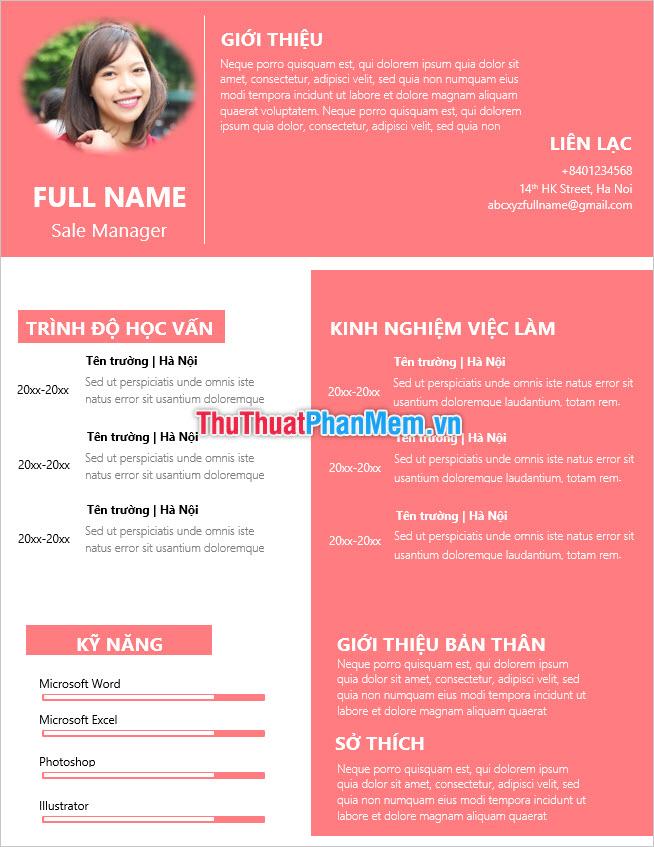 Mẫu CV tiếng Việt cực đẹp để làm đơn xin việc