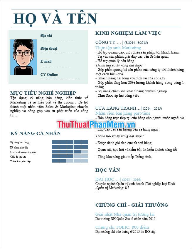 Mẫu CV tiếng Việt đẹp