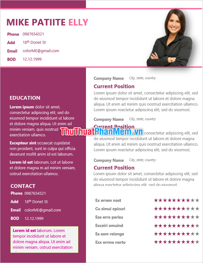 Mẫu CV xin việc bằng tiếng Anh mẫu mực
