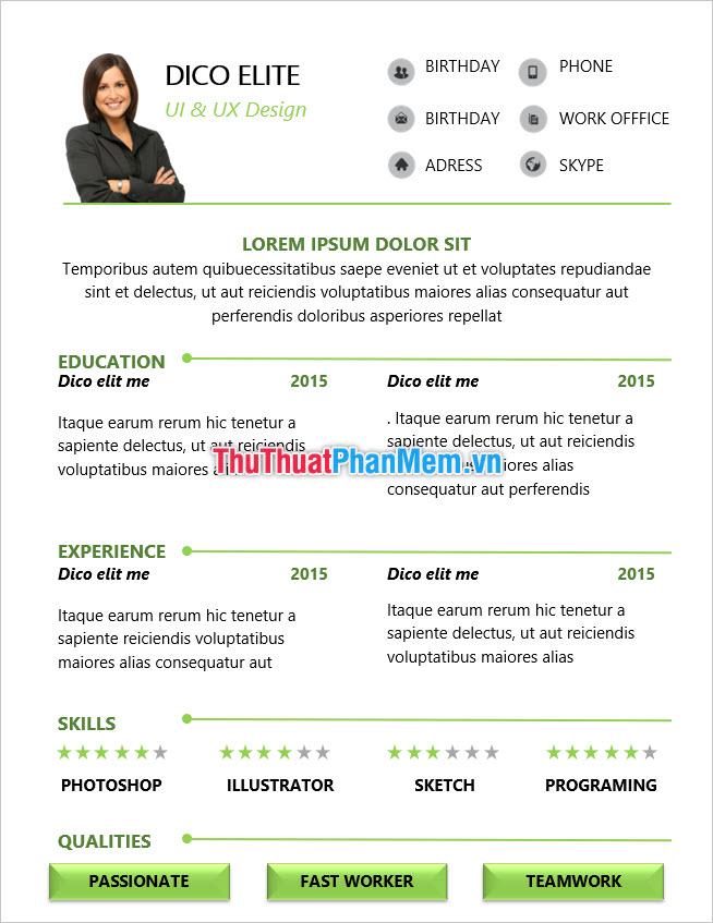 Mẫu CV xin việc dành cho công ty nước ngoài