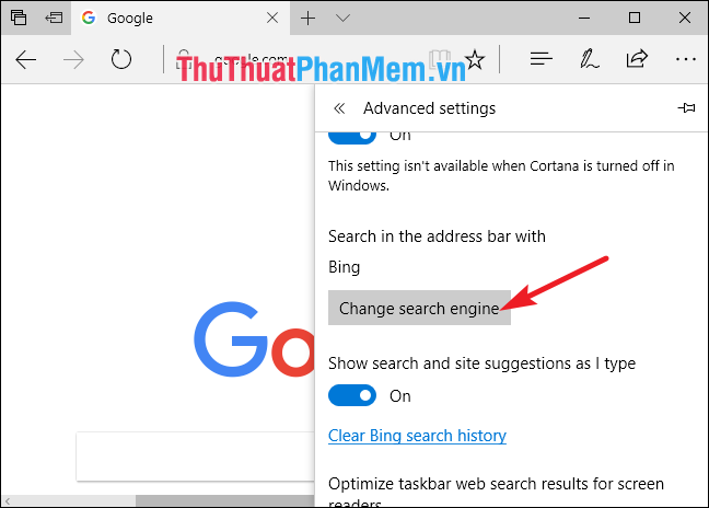 Change search engine