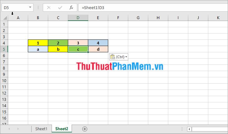 cách liên kết dữ liệu, kết nối dữ liệu giữa 2 sheet trong excel