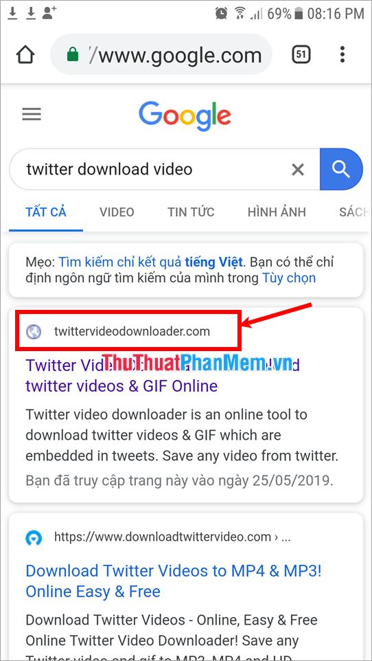 Truy cập vào Twittervideodownloader 2