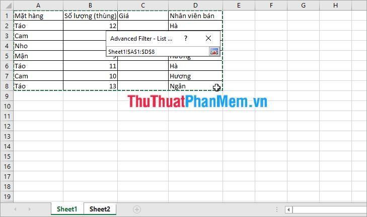 Kéo chọn vùng dữ liệu cần lọc trong Sheet1