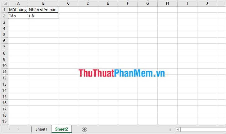 Lấy dữ liệu từ Sheet1 sang Sheet2